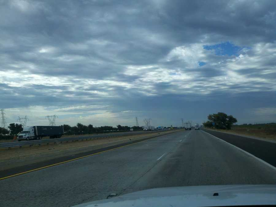 Cloud cover moves over Stockton skies.