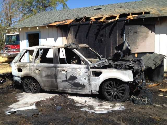 Sac Metro Fire crews reported to a single-story structure fire Friday that charred a Range Rover that was parked in the back.