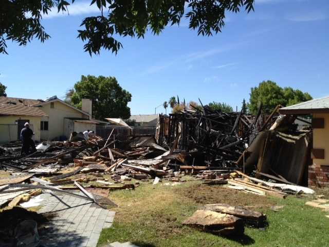 The explosion blew off the roof, shattered windows and completely leveled the home.