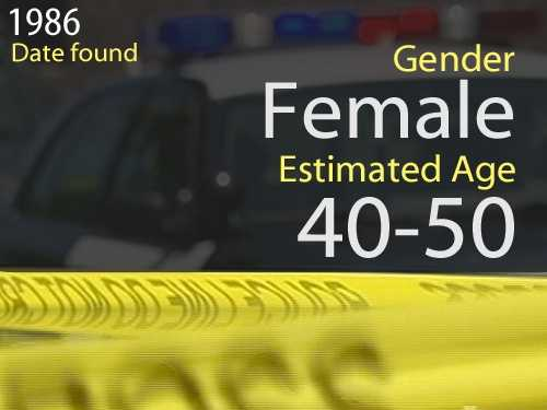86-03094Estimated age: 40 to 50Date found: Nov. 30, 1986Circumstances: Victim appeared to be walking directly into the traffic going southbound on Stockton Boulevard near Bond and Sheldon roads before being struck by a vehicle.