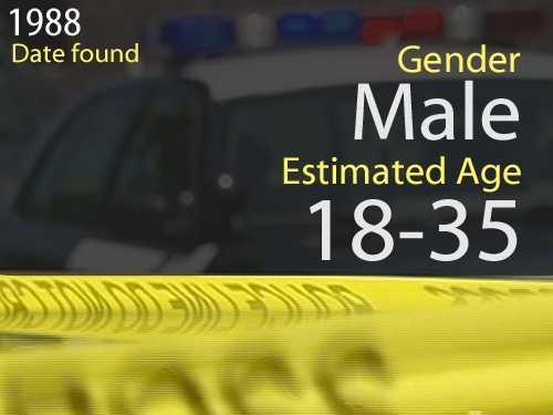 88-03368Estimated age: 18-35Date found: Nov. 11, 1988Circumstances: Victim found under Highway 160 at Northgate Boulevard.