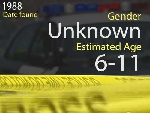88-03519Estimated age: 6 to 11Date found: Nov. 13, 1988Circumstances: Eleven teeth were found near F street.
