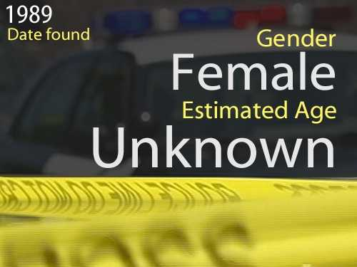 89-1556Estimated age: UnknownDate found: May 22, 1989Circumstances: Middle-aged to elderly woman was found in the garage at a home on the 2000 block of Marconi Ave.