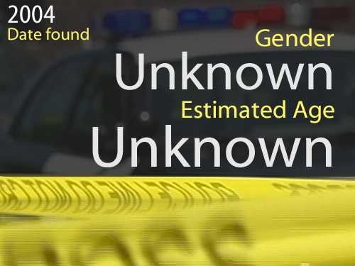 04-01392Estimated age: UnknownDate found: March 14, 2004Circumstances: The victim's bones were discovered on the shoreline of the Cosumnes River near Dillard Road south of Jackson Road.