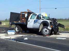 One person died in a crash Thursday morning that shut down all lanes of Highway 12 just west of Interstate 5, police said.
