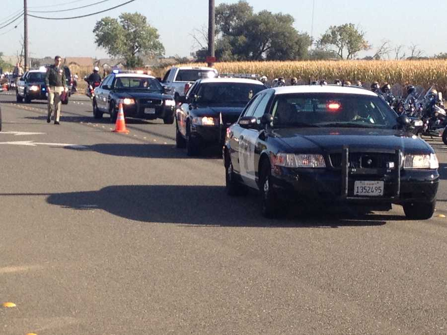 A memorial service for fallen California Highway Patrol Officer Kenyon Youngstrom is taking place in Vacaville on Thursday.