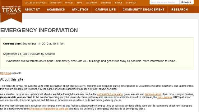 UT-Austin evacuation notice