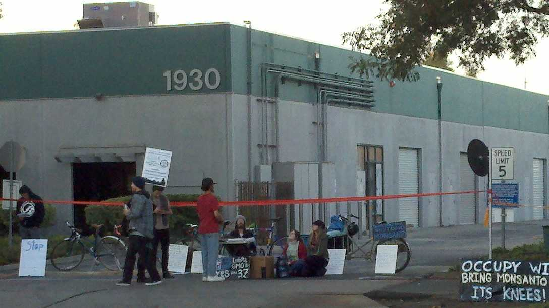 On Monday morning, about 100 Occupy protesters blocked off the parking lot to Monsanto Corporation on 5th Street in Davis.