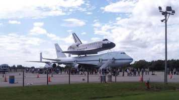 Endeavour on display at the Shuttle Landing Facility in Florida.