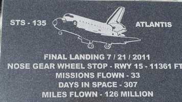 Markers on the runways of landing facilities show the final landing spot of the Shuttle fleet.