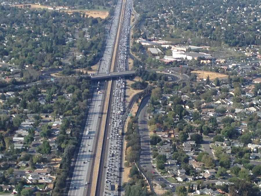 A California Highway Patrol officer on a motorcycle was hurt in a crash Tuesday morning on Interstate 80, a police spokesman told KCRA 3. These shots were taken from LiveCopter as traffic slowed in the area.
