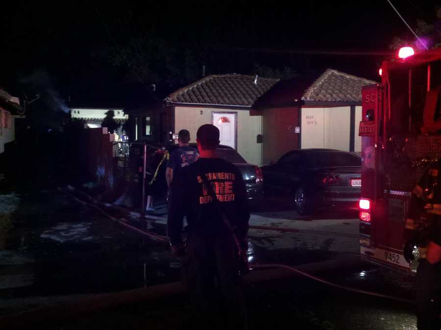 Sacramento firefighters were able to contain a fire Wednesday morning that damaged two garages, a destroyed shed, and burned vegetation on four properties before it reached any homes.