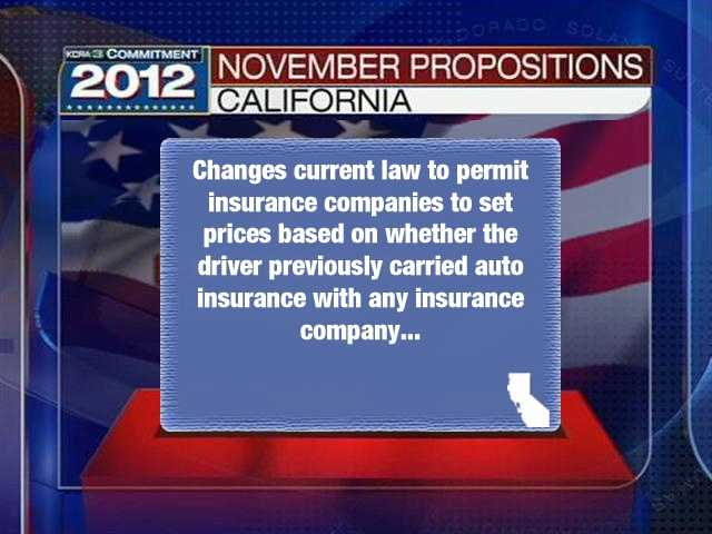 """Prop. 33""""Changes Law to Allow Auto Insurance Companies to Set Prices Based on a Driver's History of Insurance Coverage. Initiative Statute."""""""