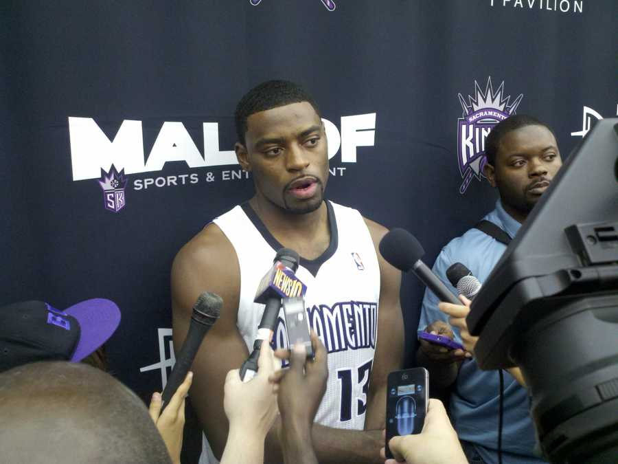 Tyreke Evans of the Sacramento Kings chats with the media on Monday.