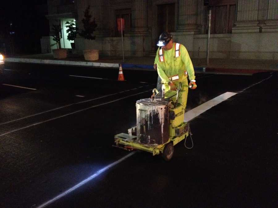 Paint crews have been busy during the overnight hours, striping some of downtown Sacramento's busiest streets with new bike lanes.