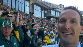 Mike TeSelle is among the Oakland faithful who watched Josh Hamilton drop a fly ball in center field for a two-run error that put the A's ahead 7-5 during the fourth inning.