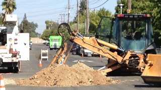 A crew with digging for a sewage line Thursday struck a gas line in Sacramento.