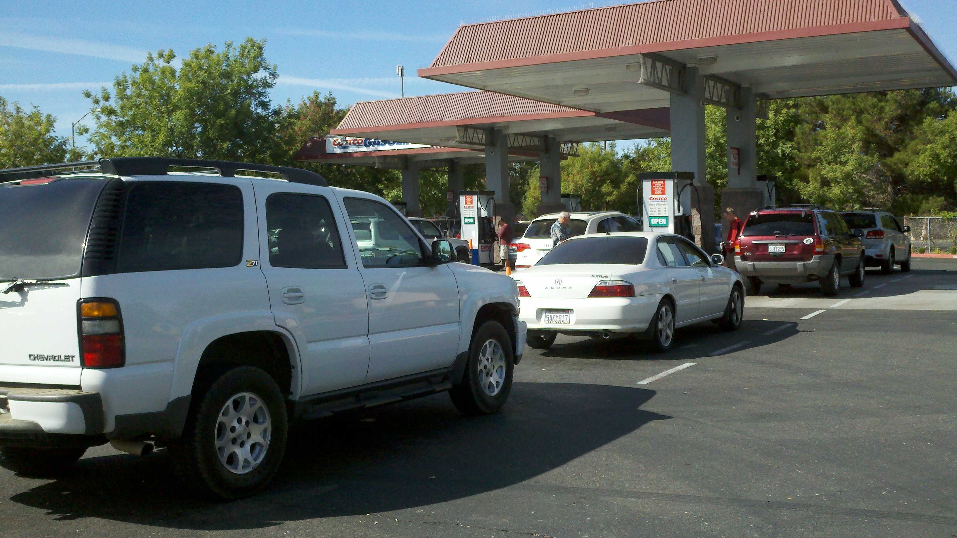 Drivers line up for gas at this Costco station in Sacramento.