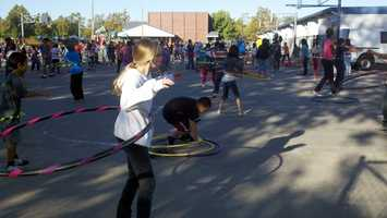 Hundreds of students at Florin Elementary School took part in a schoolwide Hula Hooping program Monday aimed at teaching children the importance of exercise and nutrition.