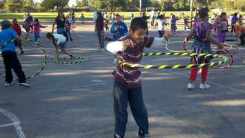 A boy hula hoops at Florin Elementary School on Monday.
