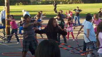 """""""This is amazing to see so many kids hula hooping, smiling and getting exercise and having fun doing it,"""" said Anne Gaffney, a registered dietitian."""