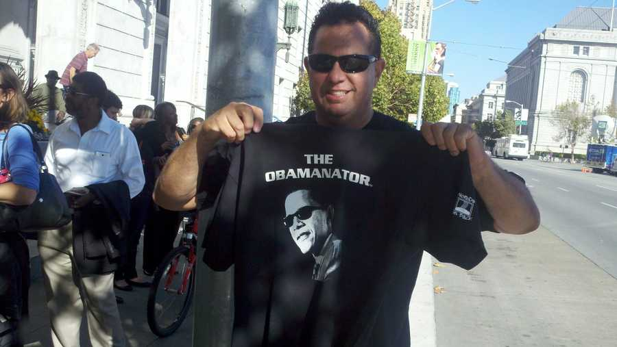 """""""Obaminator"""" T-shirts are on sale outside the fundraiser (Oct. 8, 2012)."""
