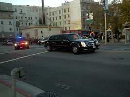 The presidential motorcade rolls through the streets of San Francisco. (Oct. 8, 2012)