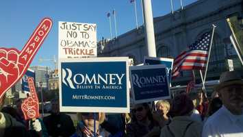 Mitt Romney supporters gather in downtown San Francisco during President Obama's visit.