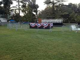 Campus crews readied the quad for Clinton, whose motorcade arrived on campus just after 11 a.m.