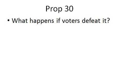 State lawmakers included a provision in the current state budget for what will happen if voters defeat Prop. 30.