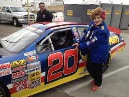 Everett -- who told Today host Matt Lauer that she's done with skydiving but would love to ride in a NASCAR vehicle -- looped around the 1/3-mile track at the All American Speedway in a specially designed two-seater racecar.