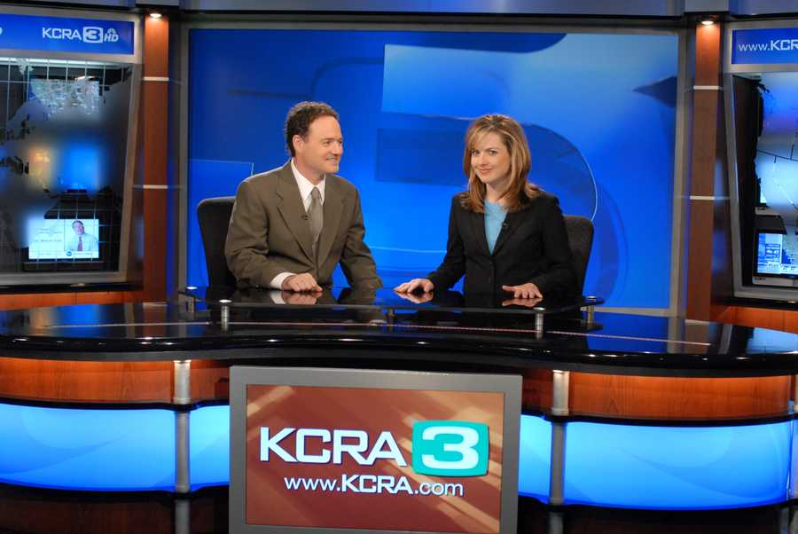 Walt on set with Deirdre Fitzpatrick. The duo co-anchored morning newscasts for a decade.
