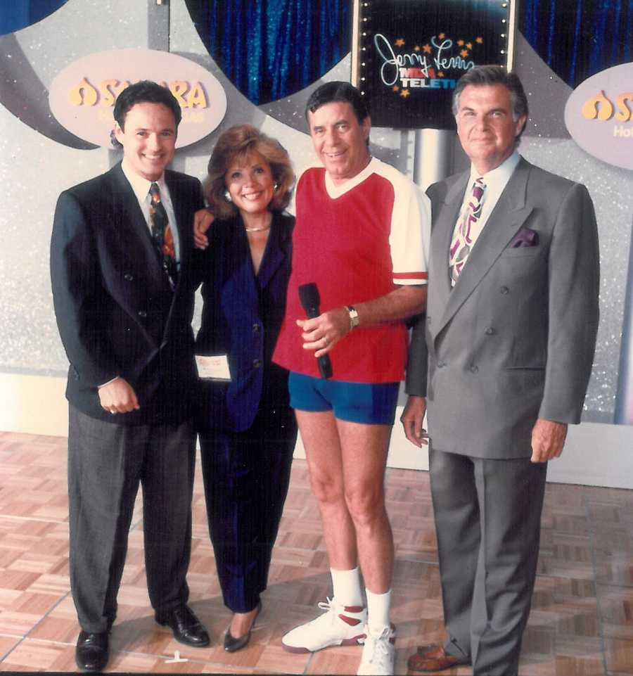 Walt with Bette Vasquez, Stan Atkinson and Jerry Lewis during an MDA telethon.