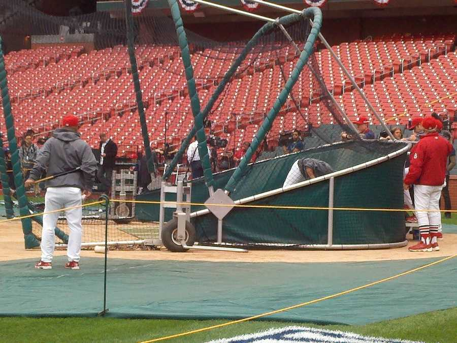 Batting practice before Game 3 of the NLCS.