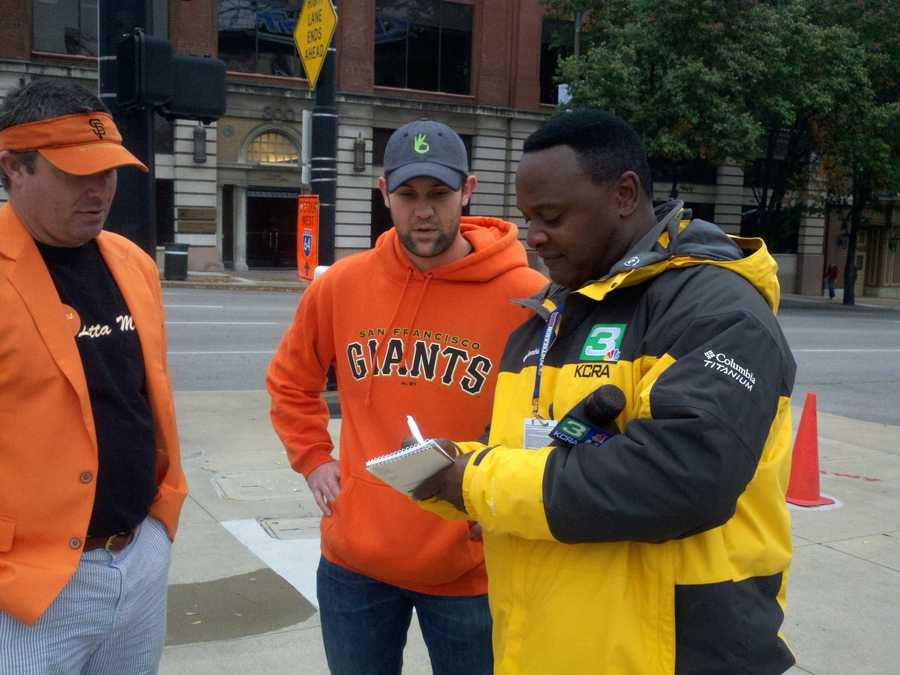 KCRA's Del Rodgers speaks with Giants fans before Game 3 of the NLCS.
