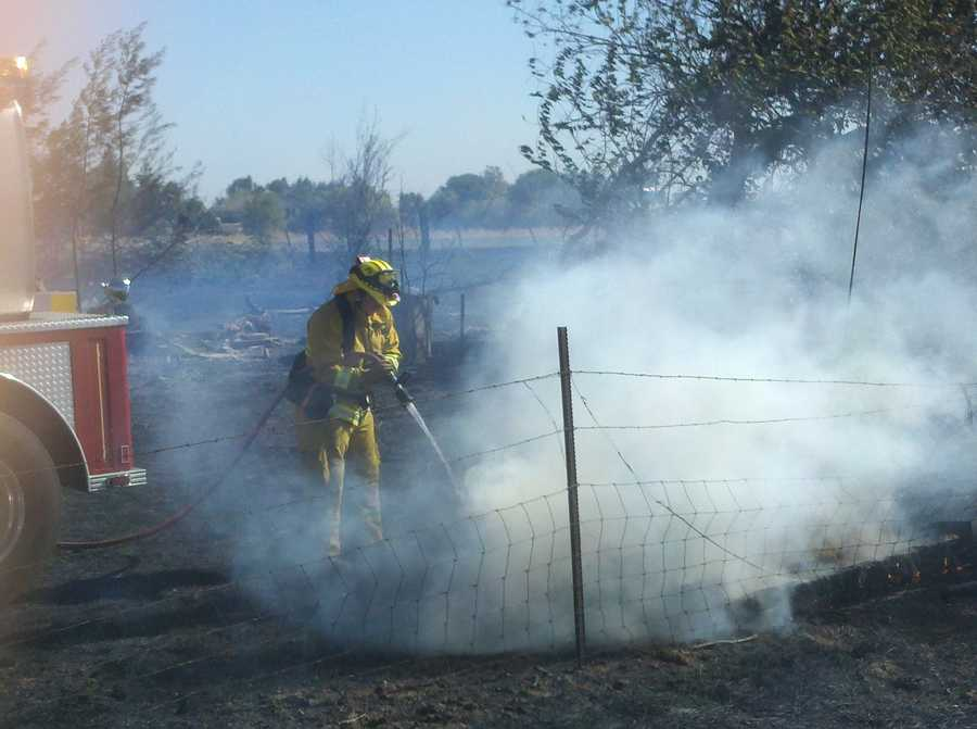 A small grass fire broke out off Interstate 505 and Anandale Road around Noon on Wednesday.