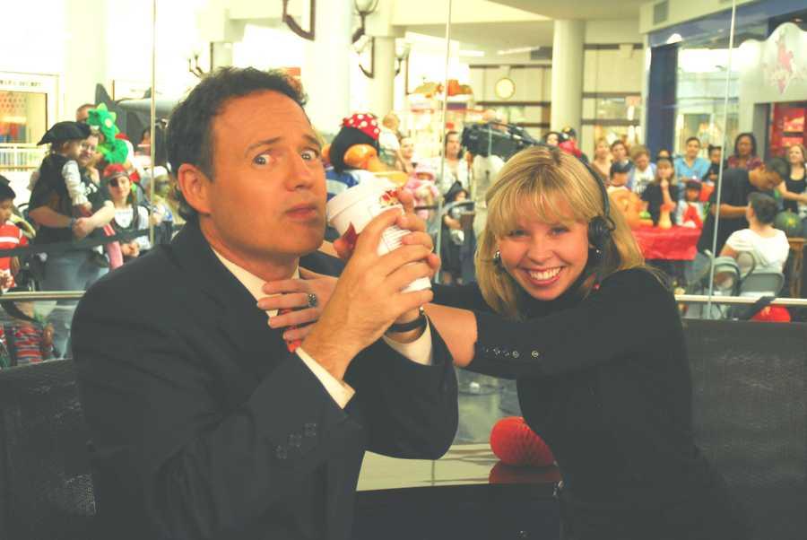 Walt having some caffeinated fun on set at the Arden Fair Mall.