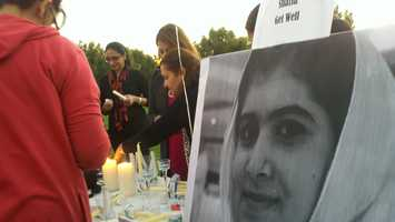 Supporters in Stockton held a candlelight vigil for Malala Yousufzai, who wascritically wounded by a Taliban gunman in Pakistan.