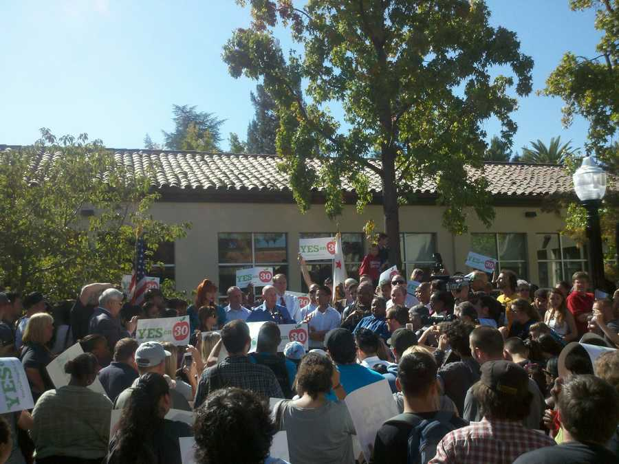 Gov. Jerry Brown was on the campaign trail Thursday at Sacramento City College in an attempt to gather support for Prop. 30, a take hike measure that would help fund education.