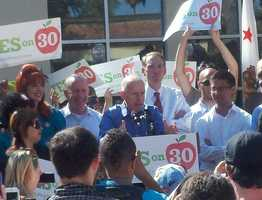 Gov. Brown speaks during a rally Thursday at Sacramento City College.