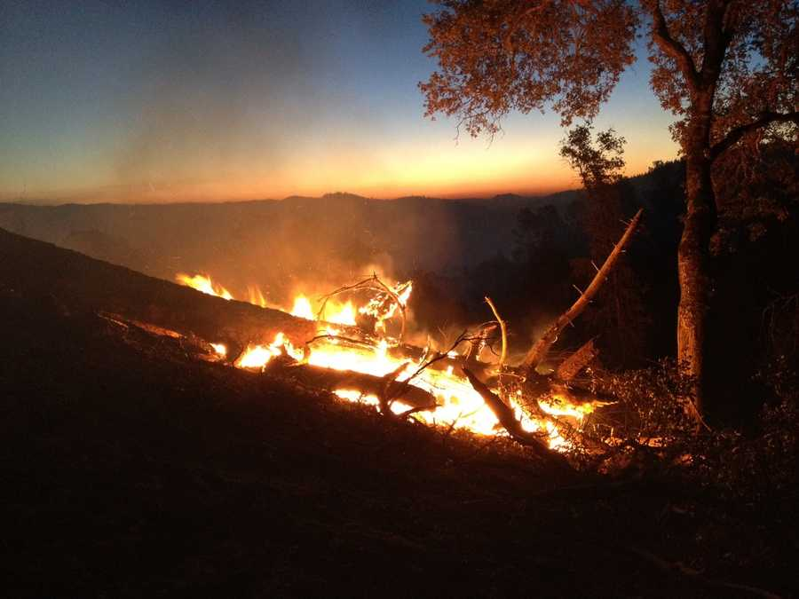 The fire continued burning in Lake County on Friday morning as crews set containment lines.