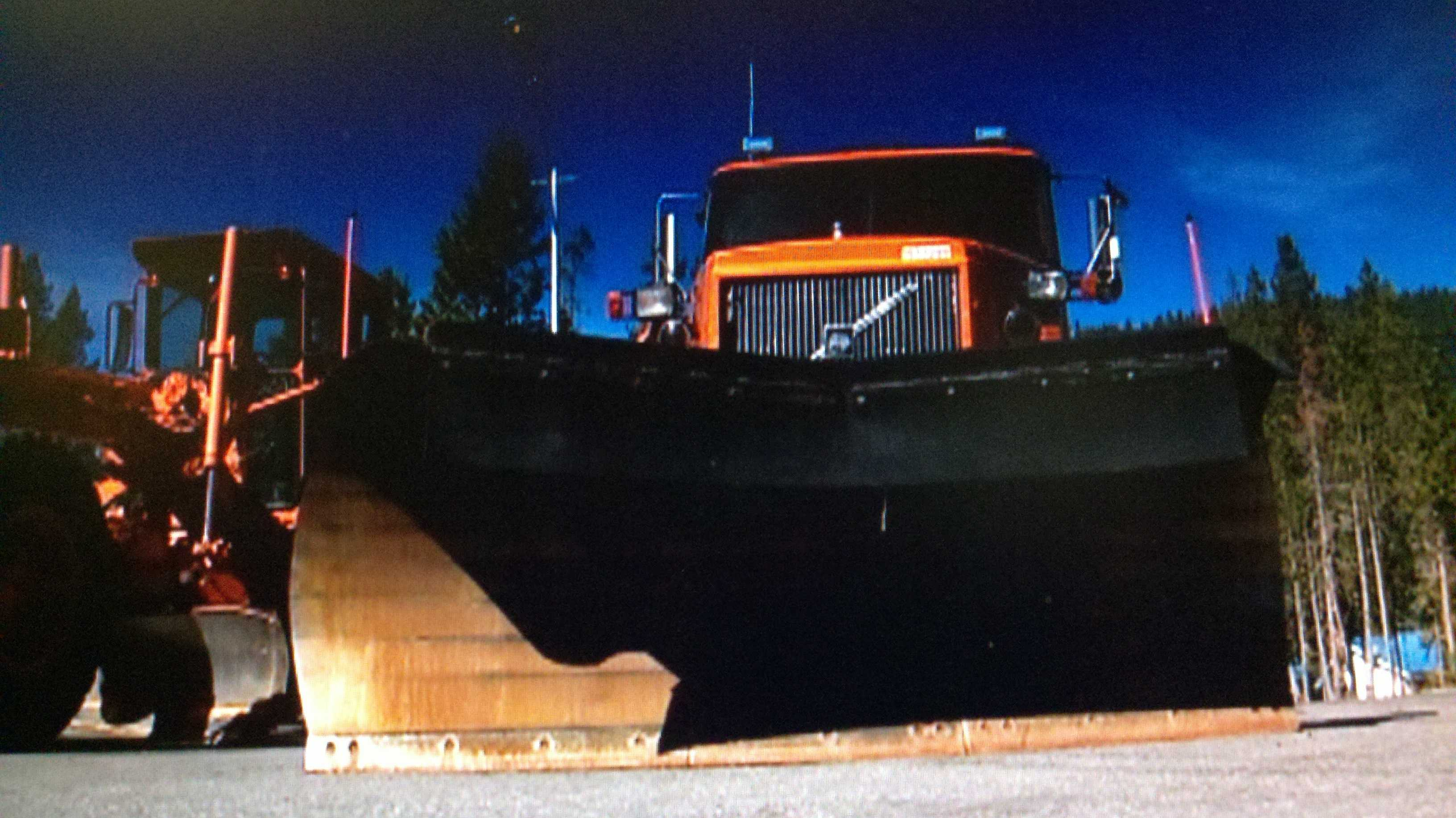 A snowplow sits in Caltrans' Kingvale maintenance yard awaiting the arrival of snow.