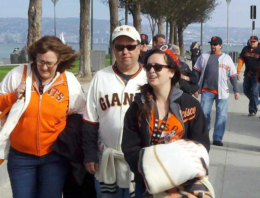 Fans heading to AT&T Park before Game 6 of the NLCS.