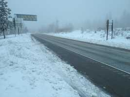 Winter-like conditions on Monday brought up to a foot of snow along Interstate 80 at Blue Canyon.