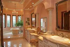 A freestanding tub overlooks the property.