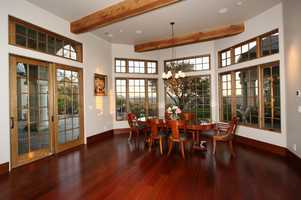The dining space overlooks the rolling Sierra foothills.