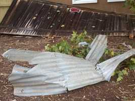The National Weather Service says that a confirmed EF1 tornado caused this damage in Elk Grove during a Monday storm.
