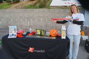 The madd booth.  Lots of red ribbons here.