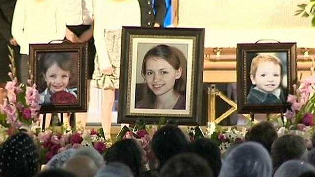A moving ceremony is held for the mother and her two children whose lives were cut short.