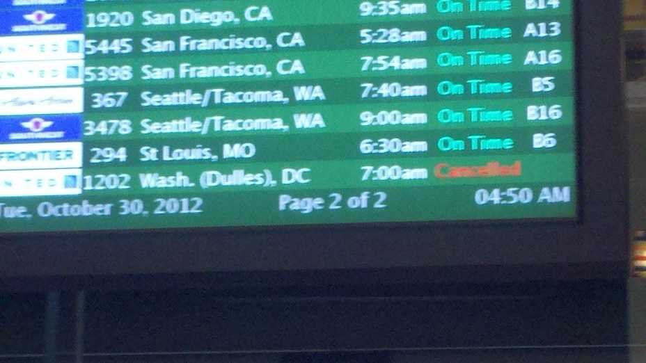 United Flight 1202 to Washington's Dulles airport was canceled Tuesday morning.